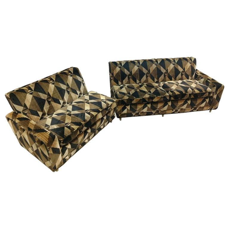 Mid-Century Modern 2-Piece Sectional Sofa Brass Baughman Lenor Larsen Style For Sale