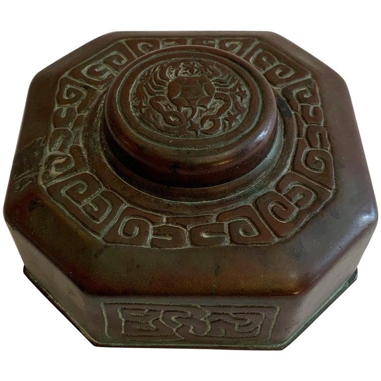 Tiffany Studios Bronze Doré Zodiac Pattern Inkwell For Sale