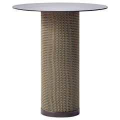 Armor Cylinder Side Table Oil-Rubbed Bronze with Satin Brass Chainmail by Konekt