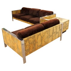 Mid-Century Modern Adrian Pearsall Chrome Cork Sofa Loveseat End Table Set 1970s