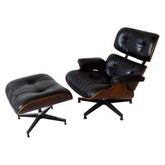 One Owner Estate Charles and Ray Eames Black Leather Lounge Chair with Ottoman