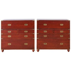 Pair of Midcentury Mahogany Campaign Style Writing Chests