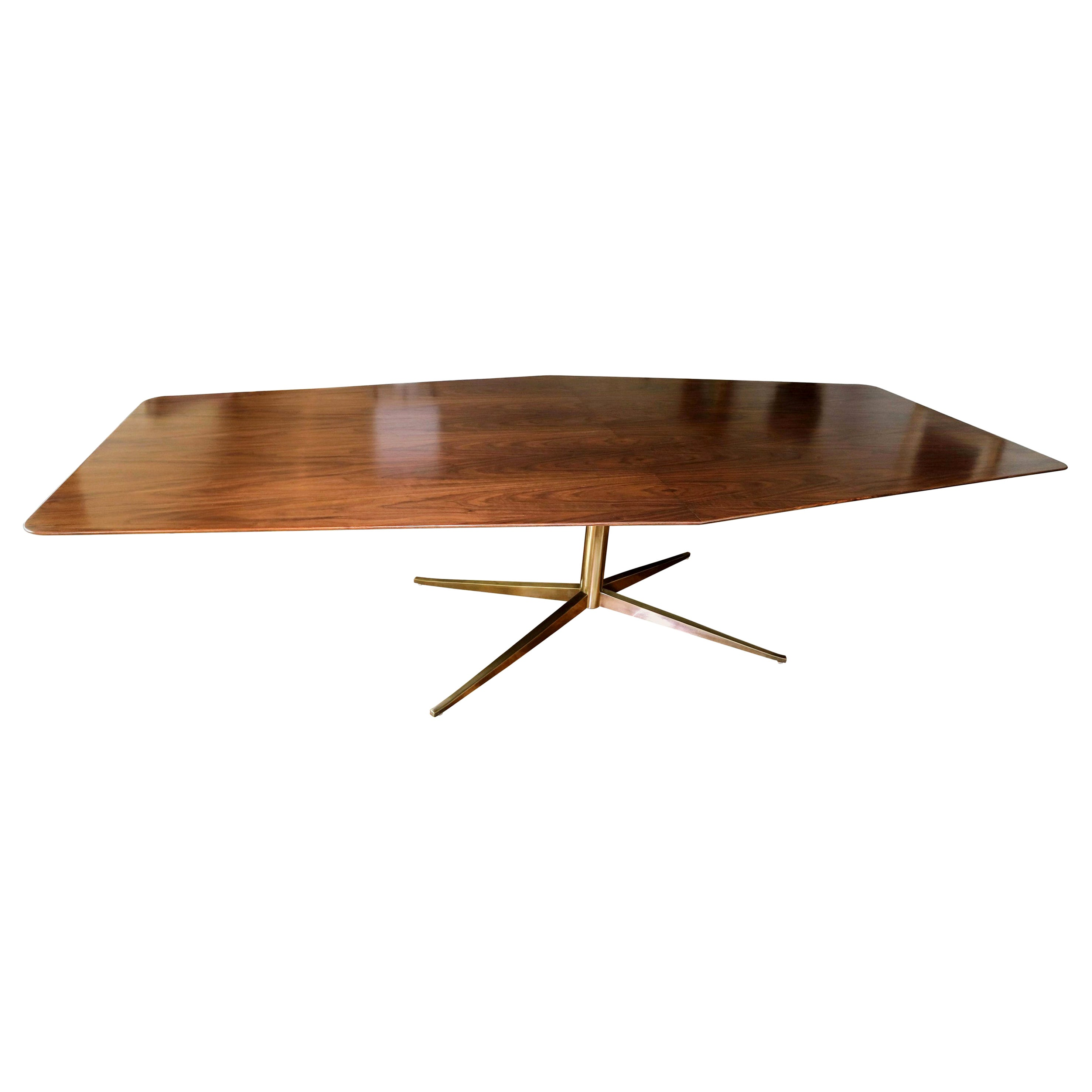 Custom Walnut Rectangular Pedestal Dining Table with Brass Leg by Adesso Imports