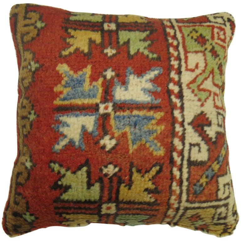 Turkish Bergama Rug Pillow For Sale