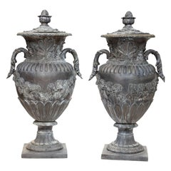 Pair of Large Bronze Capped Urns