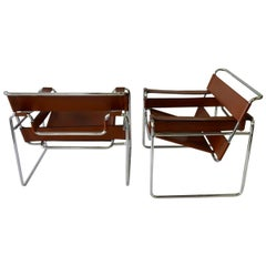 Pair of Marcel Breuer for Stendig Chrome Frame with Leather Wassily Chairs