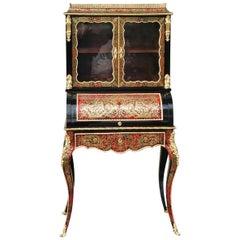 Rare Louis XV Desk Secretary Boulle Cabinet, France, 1865