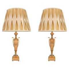 Pair of French 19th Century Neoclassical Onyx, Ormolu and Cloisonné Lamps