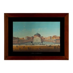 Italian 19th Century Signed Gouache, Framed Within a Mahogany Frame