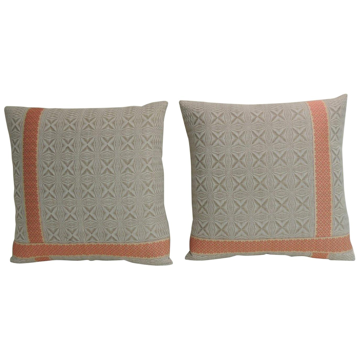 Pair of Vintage Woven Swedish Decorative Pillows with Ribbon Accents