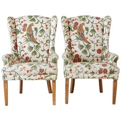 Pair of English Style Crewel Work Wing Chairs