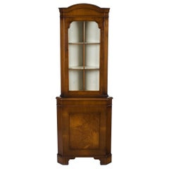 Tall Single Door Walnut Corner Cabinet Cupboard Hutch