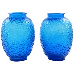 Pierre D'Avesn for Cristallerie Choisy-le-Roi Blue Molded Glass Vase, a Pair