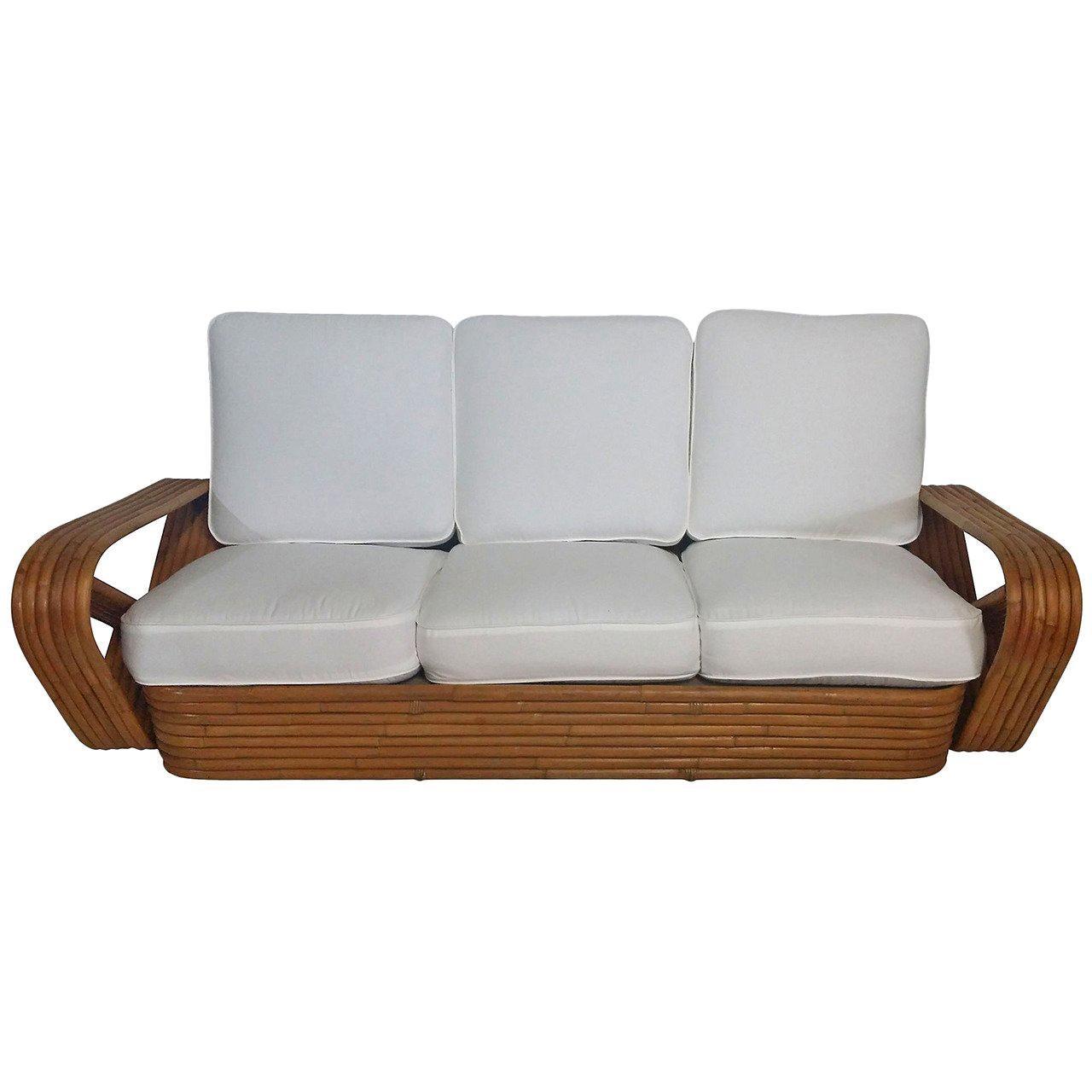 Restored 1930s Six-Strand Square Pretzel Sofa in the Manner of Paul Frankl