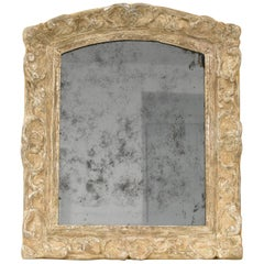 French Fine 17th Century Louis XIV Silver Leaf and Carved Oak Wall Mirror