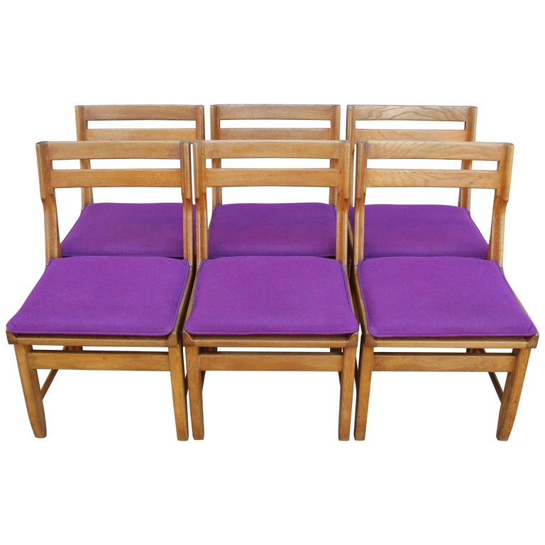 Set of Eight French Oak Dining Chairs by Guillerme et Chambron For Sale