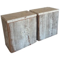 Pair of Reclaimed Wood Side Table with Limestone Tops