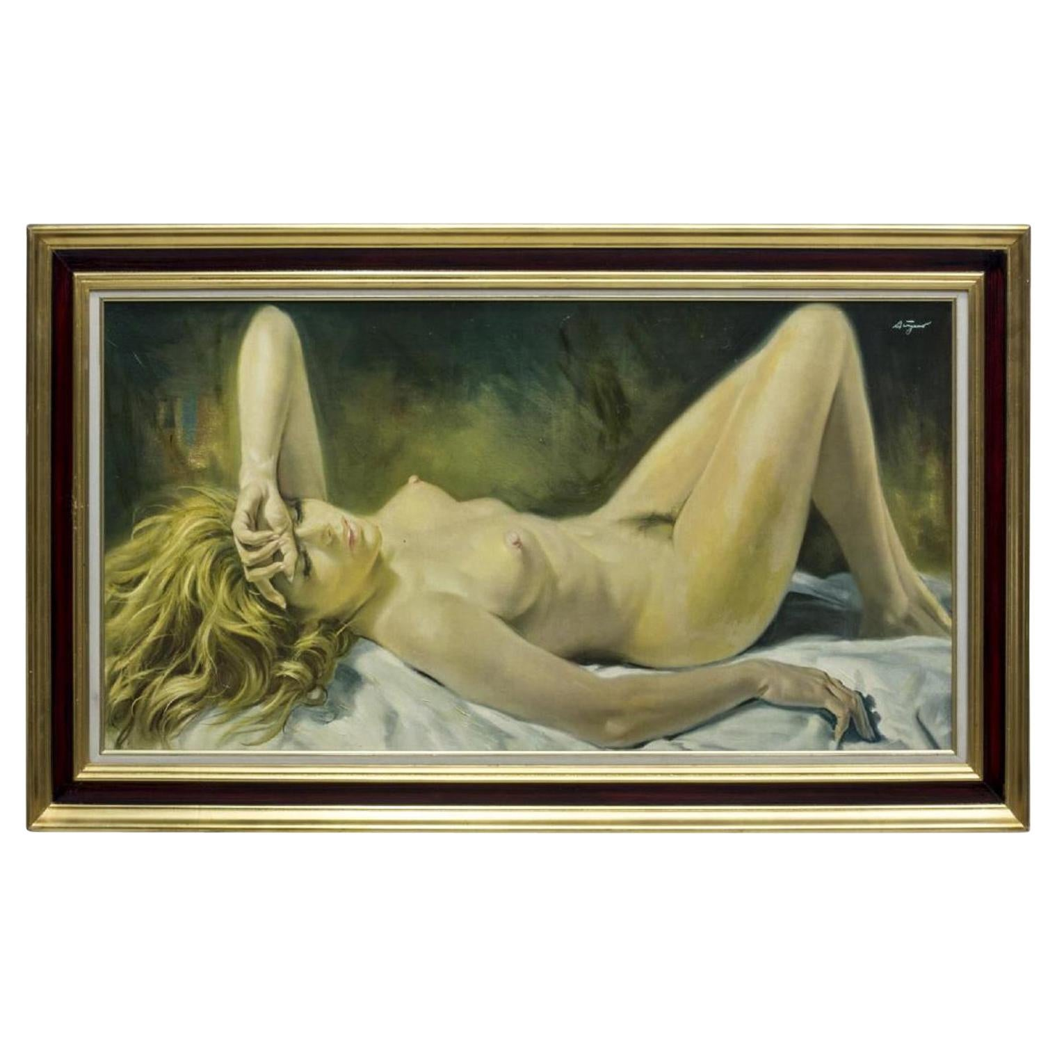 Oil on Canvas of Reclining Nude