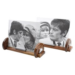 French Art Deco Walnut Wood and Chrome Picture Photo Frame, a Pair