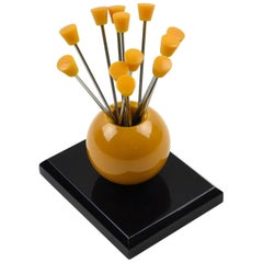 1930s French Art Deco Orange and Black Bakelite Cocktail Picks