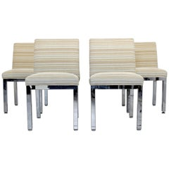 Mid-Century Modern Set of 4 Milo Baughman for DIA Chrome Dining Chairs, 1970s