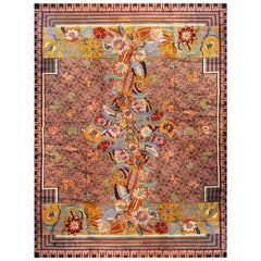 Floral Art Deco Wool Rug Designed by Jules Coudyser, circa 1930