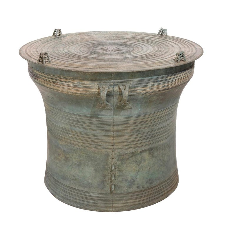 Burmese Bronze Karen Frog Rain Drum For Sale