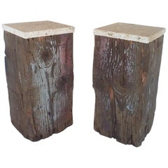 Pair of Rustic Organic Wood Tables with Limestone Tops