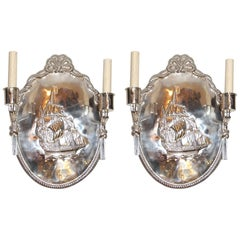 Set of Nautical Oval Silver Plated Sconces, Sold per Pair