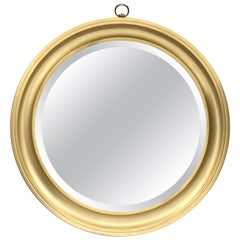 Mirror Round  in Golden Aluminum. Sergio Mazza for Artemide Italy 1960s