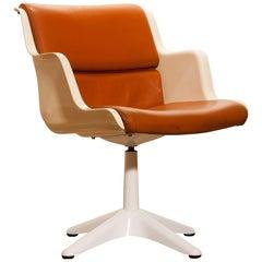 1970s, Leather, Fibreglass and Metal Desk Side Chair by Yrjö Kukkapuro for Haimi