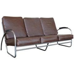 Wolfgang Hoffmann Style Chrome Tubular Sofa by Royal Metal
