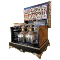 Rare Liquor Cellar Cave Cabinet in Boulle, Tortoiseshell and Baccarat Crystal