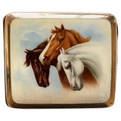 Antique Silver and Enamel Horses Cigarette Case