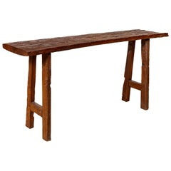 Rustic Antique Indonesian Console Table with Distressed Wood and A Frame Base