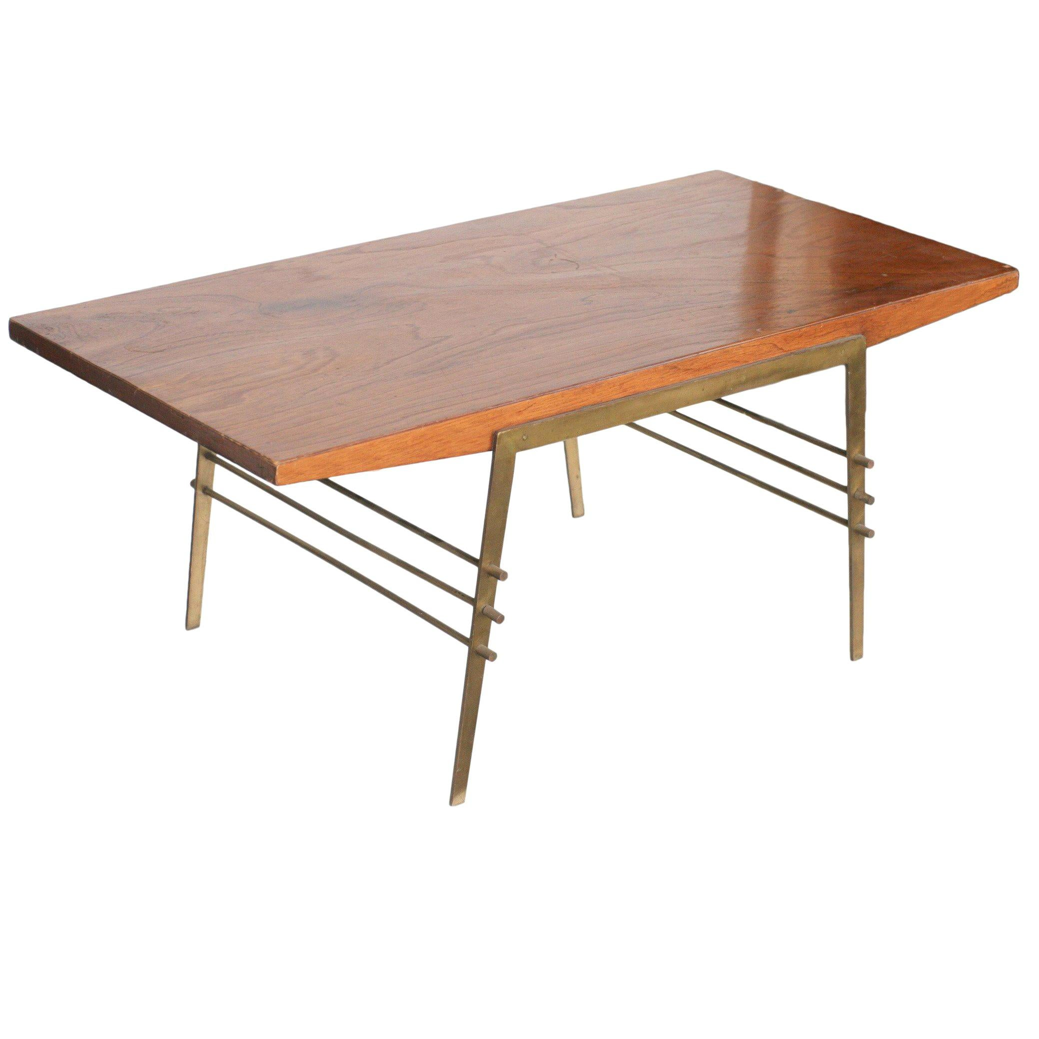 Midcentury Oak Coffee Table with Brass Architectural Base
