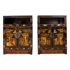 Pair of Antique Chinese Display Cabinets with Hand Painted Chinoiserie Motifs