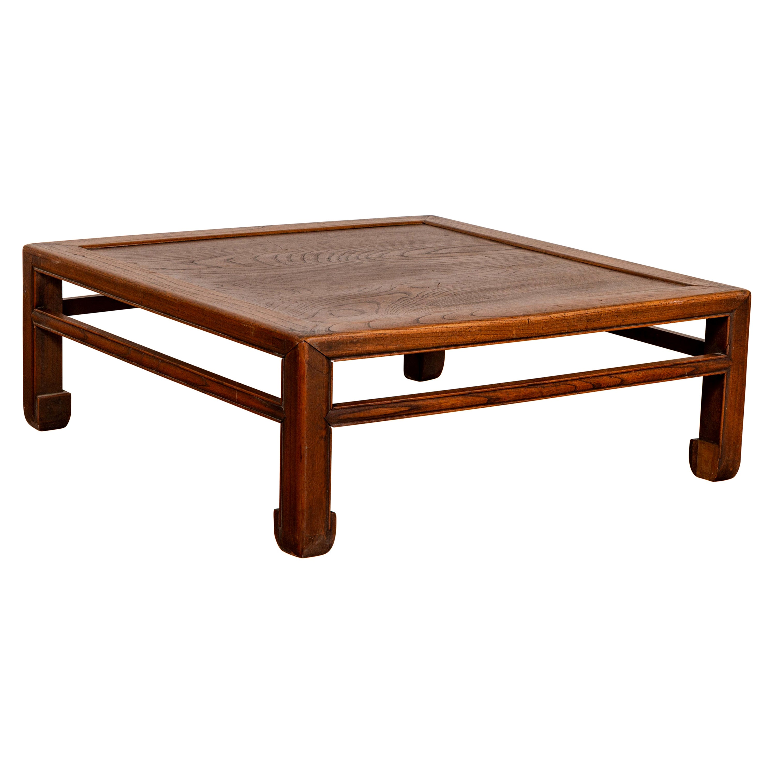 Chinese Antique Elm Low Coffee Table with Side Horse Hoof Feet and Stretchers