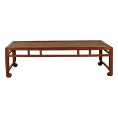Chinese Long Coffee Table with Elmwood Patina, Scrolled Feet and Humpback Apron
