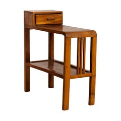 Vintage Dutch Colonial Midcentury Side Table with Single Drawer and Lower Shelf