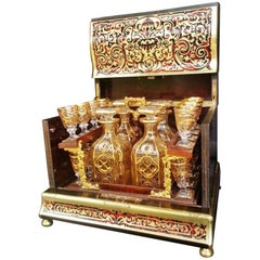 Unique Liquor Cellar Cave Cabinet in Boulle, Tortoiseshell and Baccarat Crystal