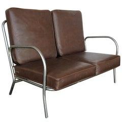 Art Deco Chrome Folding Sofa Loveseat