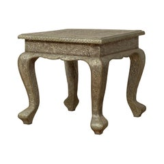 Vintage Indian Rubbed Silver Plated Brass Side Table with Hand-Hammered Motifs