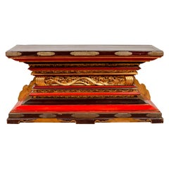 Japanese Meiji Lacquered Altar Shrine Table Base with Gold, Red and Black Motifs