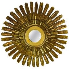 Midcentury Style Gilt Starburst Form Mirror