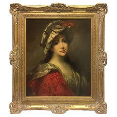 French Oil on Canvas Painting, 19th Century