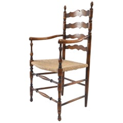 Ladder Back Dining Room Armchair with Rush Seat