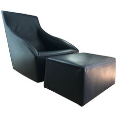 """Molteni & C """"Doda"""" Lounge Chair and Ottoman in Charcoal Leather"""