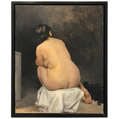Peter Churcher, Sacha's Back, Female Nude, Classical Oil Painting, Figurative