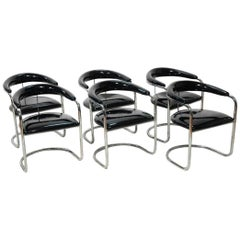 Six Black Patent Leather and Chrome Thonet Dining Chairs